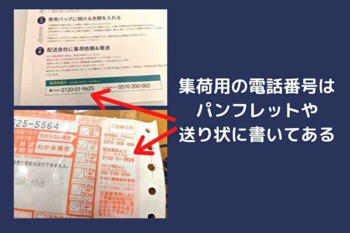 リネット保管の送り状と集荷依頼用の電話番号