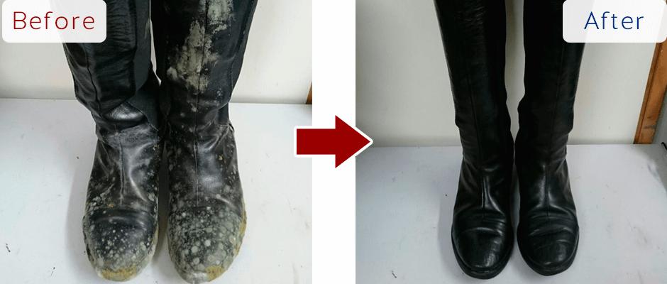 美靴パック、カビだらけのブーツの汚れの除去効果