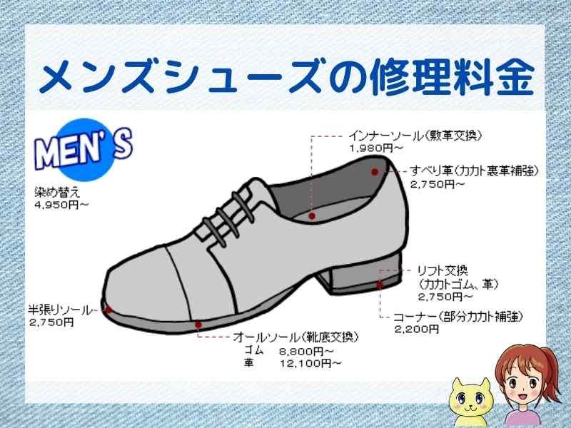 美靴パック、メンズシューズの修理メニューと料金