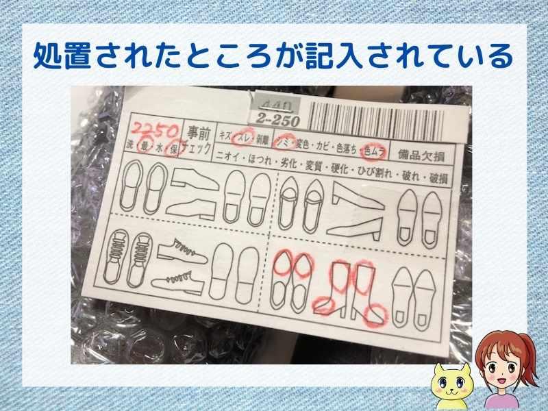 くつリネットで処置された箇所が書かれているカードが同梱されていた
