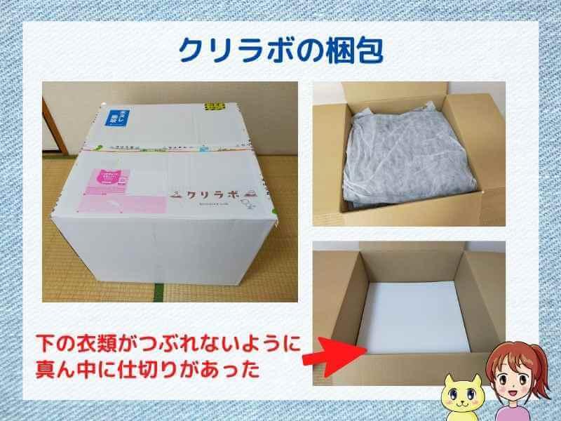 クリラボの体験写真(届いた箱と梱包状態)